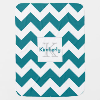 Customizable Color Monogram Chevron Baby Blanket