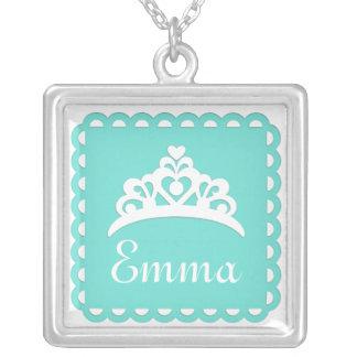 Customizable Color Monogram Crown Square Pendant Necklace