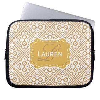 Customizable Color Monogram Moroccan, Tan Gold Laptop Sleeve