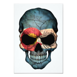Customizable Colorado Flag Skull 9 Cm X 13 Cm Invitation Card