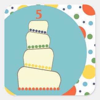 Customizable Colorful Children's Birthday Cake Square Sticker