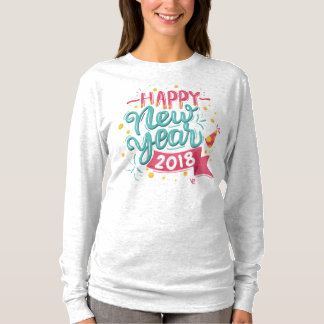 Customizable Colorful Happy New Year Sleeve Shirt