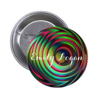 Customizable Colorful Interference Wave Design 6 Cm Round Badge