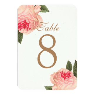 Customizable Coral Peonie Table Number Cards