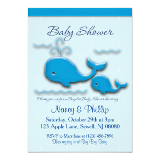Customizable Couples Whale Baby Shower 11 Cm X 16 Cm Invitation Card