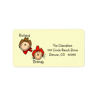 Customizable Cowboy and Cowgirl Address Labels