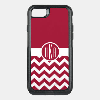Customizable Crimson and White Monogram OtterBox Commuter iPhone 8/7 Case