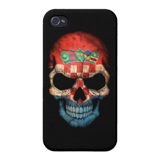 Customizable Croatian Flag Skull iPhone 4 Covers