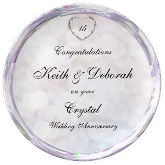 Customizable Crystal Wedding Anniversary Plate