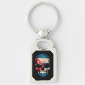 Customizable Cuban Flag Skull Silver-Colored Rectangle Key Ring