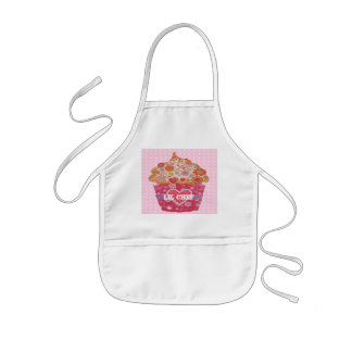 Customizable cupcake and polka dots kids apron