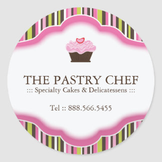 Customizable Cupcake Bakery Stickers