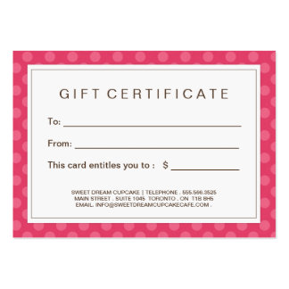 Customizable Cupcake Gift Certificate Pack Of Chubby Business Cards