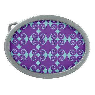 Customizable Curls Pattern Oval Belt Buckle