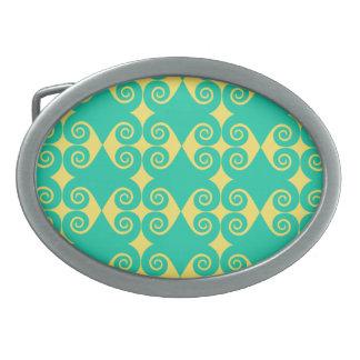 Customizable Curls Pattern Oval Belt Buckles