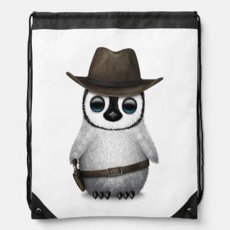 Customizable Cute Baby Penguin Cowboy Drawstring Bag
