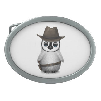 Customizable Cute Baby Penguin Cowboy Oval Belt Buckle
