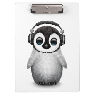 Customizable Cute Baby Penguin Dj with Headphones Clipboard
