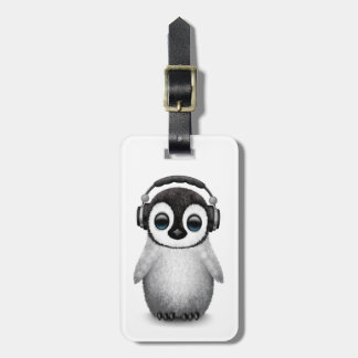 Customizable Cute Baby Penguin Dj with Headphones Luggage Tag