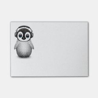 Customizable Cute Baby Penguin Dj with Headphones Post-it Notes