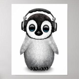 Customizable Cute Baby Penguin Dj with Headphones Poster