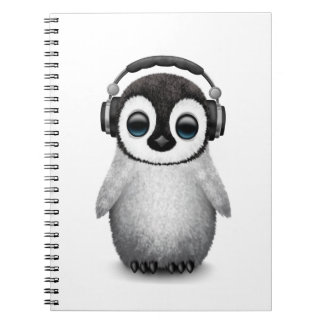 Customizable Cute Baby Penguin Dj with Headphones Spiral Notebook