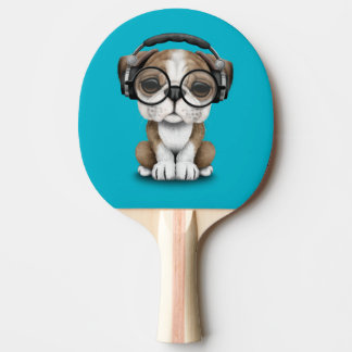Customizable Cute Bulldog Puppy Dj with Headphones Ping Pong Paddle