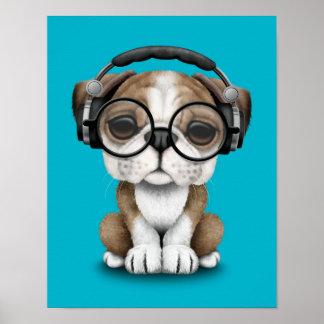 Customizable Cute Bulldog Puppy Dj with Headphones Poster