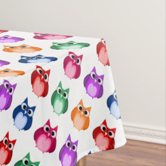 Customizable Cute Colorful Owl Pattern Tablecloth
