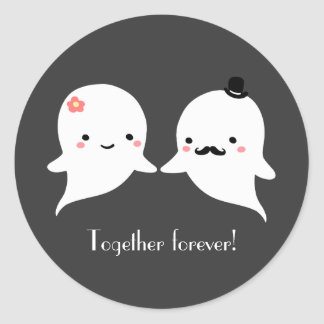 Customizable Cute Ghost Couple Classic Round Sticker
