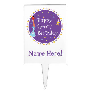 Customizable, Cute Happy Birthday Cake Pick