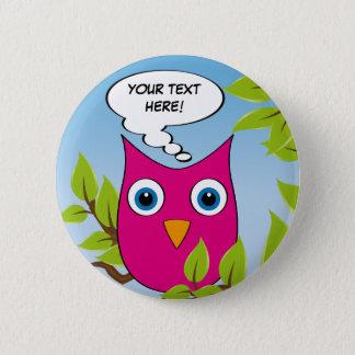 Customizable cute little owl - multiple colors 6 cm round badge