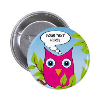 Customizable cute little owl - multiple colors 6 cm round badge