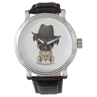 Customizable Cute Pug Puppy Cowboy Watch