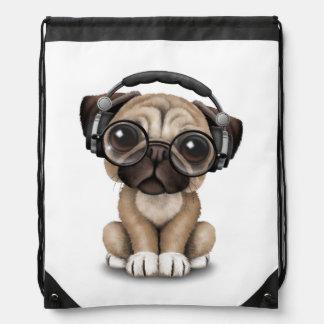 Customizable Cute Pug Puppy Dj with Headphones Drawstring Backpacks