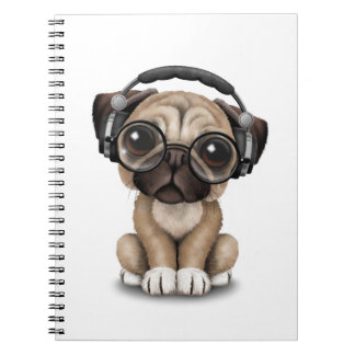 Customizable Cute Pug Puppy Dj with Headphones Spiral Notebook