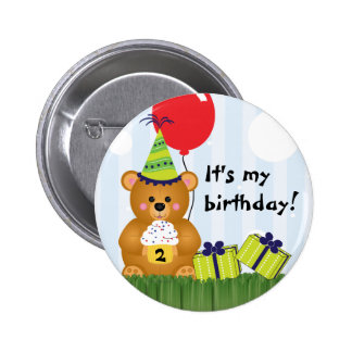 Customizable Cute Teddy Bear Birthday Pin