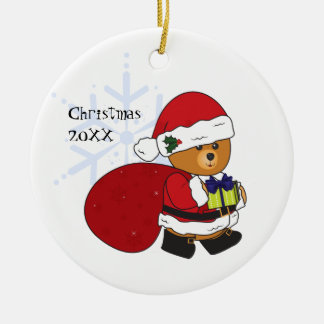 Customizable Cute Teddy Bear Christmas Ornament