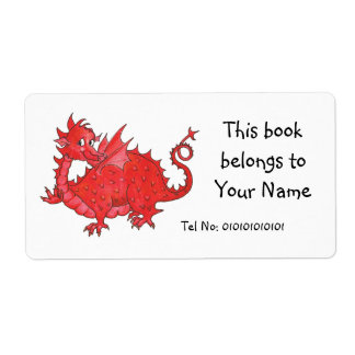 Customizable Cute Welsh Red Dragon Bookplate