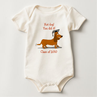Customizable Dachshund Dog Graduation Template Baby Bodysuit