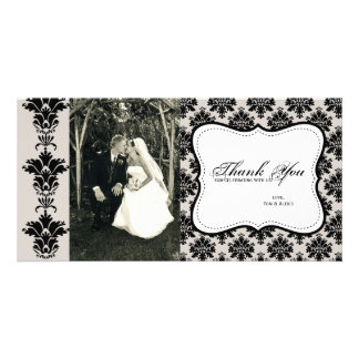 Customizable Damask Photo Thank You Card Photo Card Template