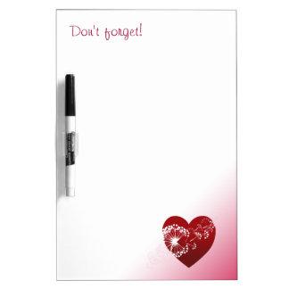 Customizable: Dandelion love heart Dry Erase Board