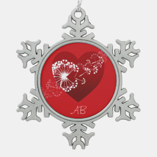 Customizable: Dandelion love heart Snowflake Pewter Christmas Ornament