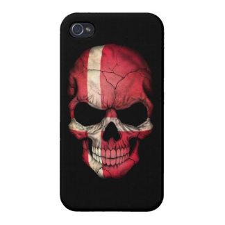 Customizable Danish Flag Skull Covers For iPhone 4