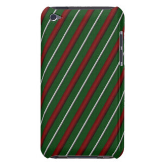 Customizable Diagonal Christmas Stripes iPod Touch Cover