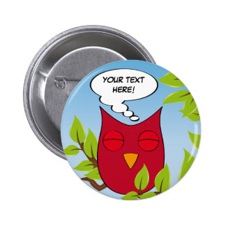 Customizable dreaming owl - multiple colors 6 cm round badge