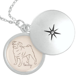 Customizable Elegant Drawn Pug Dog. Sterling Silver Necklace