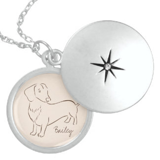 Customizable Elegant Hand Drawn Dachshund Dog. Sterling Silver Necklace