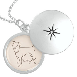 Customizable Elegant Hand Drawn Dog. Sterling Silver Necklace