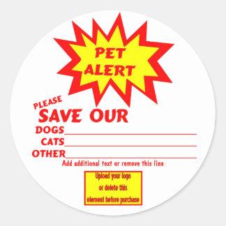 Customizable Emergency Pet Alert Stickers